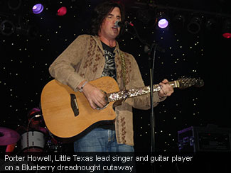 Porter Howell, Little Texas lead singer and guitar player on a Blueberry dreadnought cutaway